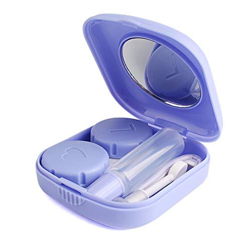 Keyzone Kontaktlinsenbehälter Kunststoffbehälter mit Pinzette und Saugnapf Reiseset für Aktivitäten im Freien (Lila)