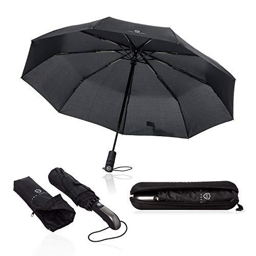 VON HEESEN® Regenschirm sturmfest bis 140 km/h - inkl. Schirm-Tasche & Reise-Etui - Taschenschirm mit Auf-Zu-Automatik, klein, leicht & kompakt, Teflon-Beschichtung, windsicher, stabil (Schwarz)
