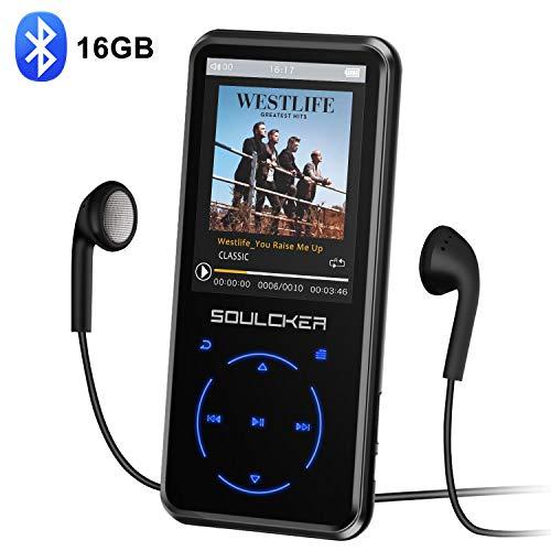 MP3 Player, 16GB Bluetooth MP3 Player mit Kopfhörer, MP3 Player Kinder mit Lautsprecher FM Radio Voice Recorder 2.4 Zoll TFT Bildschirm, Speicher Erweiterbar bis 128 GB (mit Kopfhörer, Sport Armband)