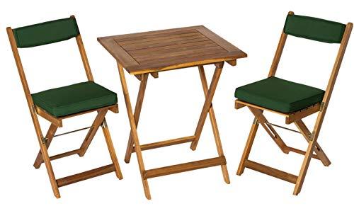 Deliano Balkonset Bistro-Set Kreta aus Akazie inkl. Kissen - platzsparend klappbar, 2 Stühle 1 Tisch eckig