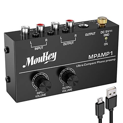 Moukey MPAMP1 DC 5V Phono-Vorverstärker Mini Leistungsverstärker Audio Stereo Amp mit Cinch Eingang, Cinch Ausgang und rauscharmem Betrieb, unabhängige Reglersteuerung