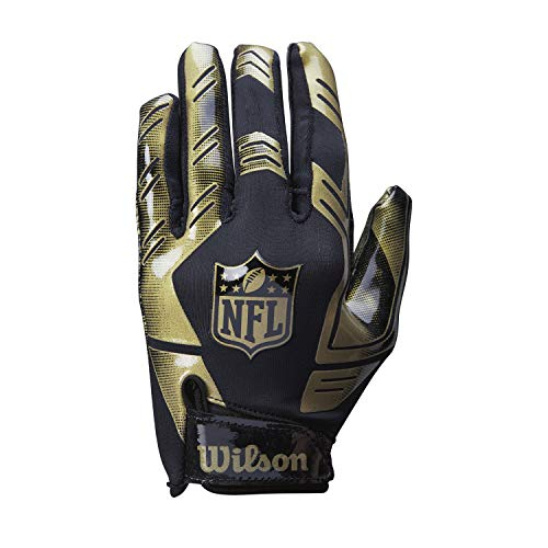 Wilson American Football Receiver-Handschuhe NFL STRETCH FIT RECEIVERS GLOVE, Einheitsgröße, schwarz/Gold, WTF930600M