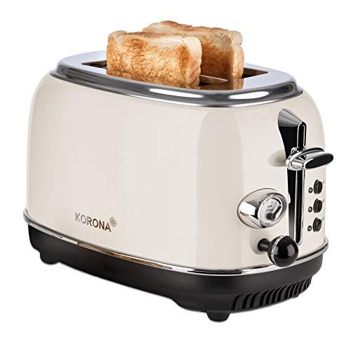 Korona 21666 Toaster   2 Scheiben   Creme   Röstgrad-Anzeige   auftauen   rösten   aufwärmen   810 Watt   Brötchen-Aufsatz   Krümel-Schublade   Brotscheiben-Zentrierung