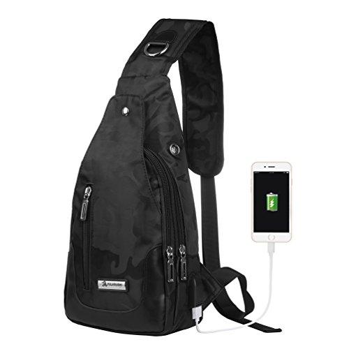 Vbiger Brusttasche Sling Rucksack Schultertasche Brusttaschen für Damen und Herren Daypack Militär Sporttasche, Stil2-schwarz, Einheitsgröße