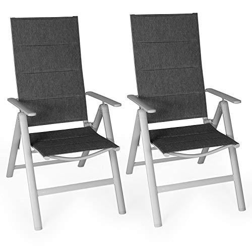 Vanage VG-5296 gepolsterter Gartenstuhl Melange Grauer Rahmen-Klappstuhl im 2er Set-Hochlehner-Klappsessel-Gartenmöbel-Stuhl für Garten, Terrasse und Balkon geeignet, Maße: ca. 68 x 57 x 110 cm