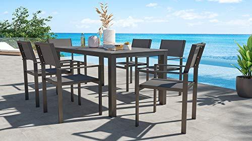 ARTELIA Sino L Gartenmöbel Essgruppe Aluminium für 6 Personen Riesen Esstisch Set für Garten, Terrasse mit Auszugtisch, Gartenmöbelset Anthrazit