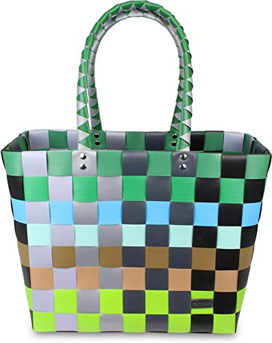 normani Einkaufstasche Shopper geflochten aus Kunststoff - robuster Strandkorb Vintage Style 38cm x 25cm x 28cm Farbe Classic/Element