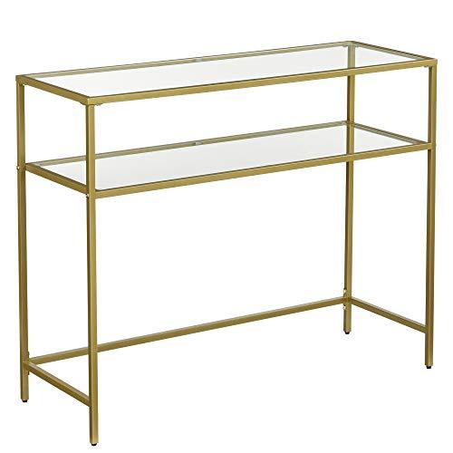 VASAGLE Konsolentisch, Beistelltisch mit 2 Ablagen, Hartglas, Aufbewahrungsregal, Metallgestell, verstellbare Füße, für Wohnzimmer, Flur, goldfarben LGT025A01