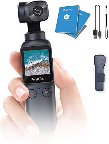 Feiyutech Feiyu Pocket-6-Achsen Taschenhand Gimbal Stabilisator mit Ultra HD 4K Built-in-Action-Kamera für Vlog YouTube Live-Videoaufzeichnung mit Nullverzögerungs Follow-Modus Zeitraffer Zeitlupe