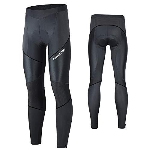 MEETWEE Herren Radlerhose Lange Fahrradhose, Kompression Radhose Leggings Radsport Hose für Männer Elastische Atmungsaktive 3D Schwamm Sitzpolster (Schwarz, XL)