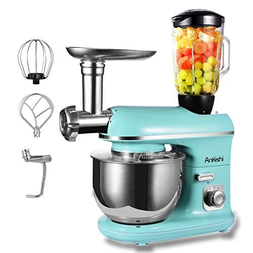 Ankishi 3 in 1 Küchenmaschine,1100w Stand Mixers for baking, Kleine Küchenmaschine, Rührbesen, Knethaken, Schlagbesen, Spritzschutz,10 Geschwindigkeit mit Edelstahlschüssel Teigmaschin