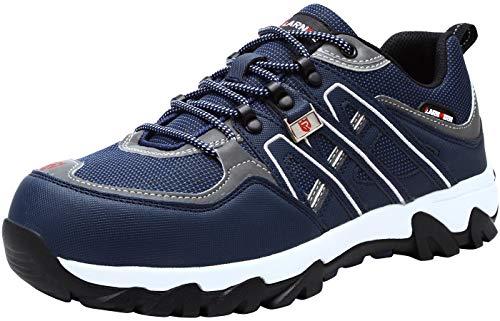 LARNMERN Sicherheitsschuhe Arbeitsschuhe Herren, Sicherheit Stahlkappe Stahlsohle Anti-Perforations Luftdurchlässige Schuhe, Blau L1032, 47 EU