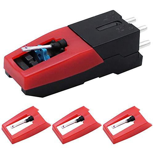 DXLing Ersatz Tonabnehmer Plattenspieler mit 3 Stück Plattenspieler Nadel - Ersatz Tonabnehmersystem und Nadel Ersatznadel für Plattenspiele Diamantnadel Plattenspieler Audio Spieler Ersatzteil