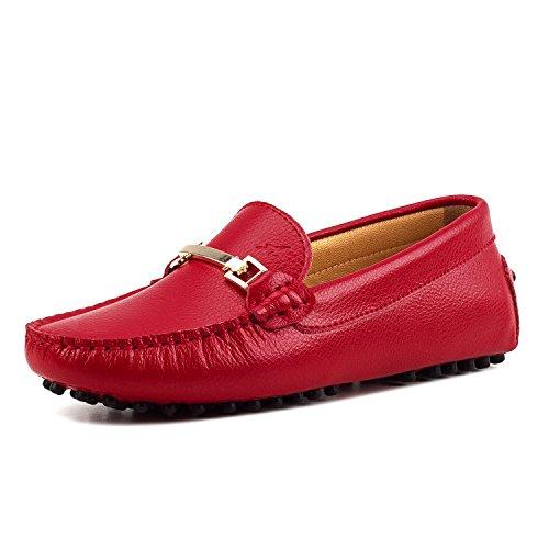 AUSLAND Damen Loafers Runde Zehen Leder Mokassins, Rot (rot), 37.5 EU
