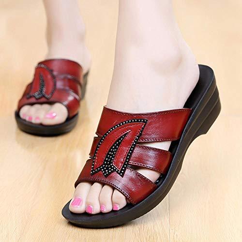 YYFF Hausschuhe Slippers Sommer Slide,Weicher Bodenkeil mit Sand, Bequeme ältere Schuhe-red_40,Flach Weich rutschfeste Badeschuhe