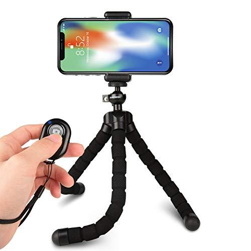 Rhodesy Octopus Style Stativ Ständer Halter mit Bluetooth-Fernbedienung für Kamera, jedes Smartphone mit Clip