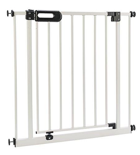 BOMI Treppenschutzgitter 63-251 | Ohne Bohren | 90° Stop | Schließt automatisch | zum Klemmen | Einfache Babygitter Montage weiß | Tür-Gitter | Treppen-Gitter Baby Kleinkind Hunde