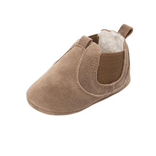 ESTAMICO Baby Jungen Mädchen Freizeit Winter Sneakers Warm Schuhe Braun 12-18 Monate