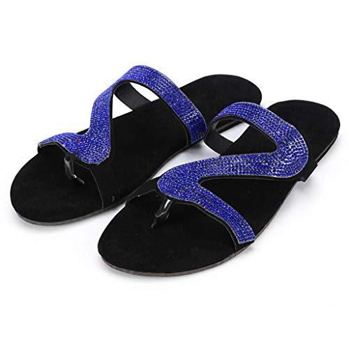 Kristall-Sandalen für Damen, lässig, 2021, bequeme Freizeit-Sandale, Sommer-Hausschuhe Gr. 66, Blau#1