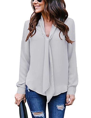 Cassiecy Damen Bluse Elegant Chiffon V-Ausschnitt Langarm Casual Oberteil Lose Langarmshirt V-Ausschnitt Vintage Tunika Hemd T-Shirt (M, Grau)