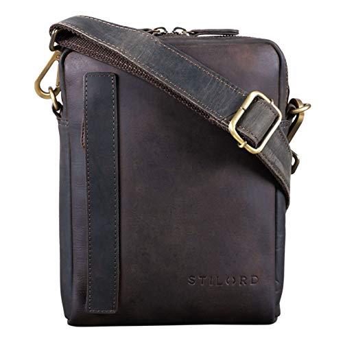 STILORD 'John' Kleine Herrentasche Ledertasche Vintage 8,4 Zoll Tablettasche Umhängetasche Männer Schultertasche mit Reißverschluss Leder, Farbe:dunkel - braun