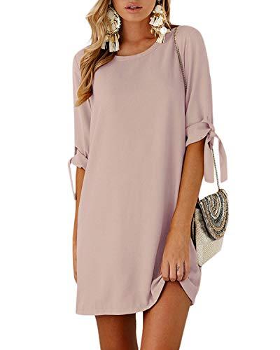 YOINS Damen Kleider Rundhals Blusenkleid Damen Sommerkleid für Damen Langarm Minikleid Lose Tunika mit Bowknot Ärmeln