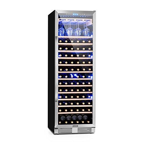 Klarstein Vinovilla - Weinkühlschrank, Getränkekühlschrank, Touch-Bediensektion, LED-Innenbeleuchtung, 2 Kühlzonen, Volumen: 425 Liter, 13 Holzeinschübe, schwarz