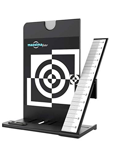 Maxsimafoto - Lens Focus Calibration Tool Alignment Ruler with White Balance Card