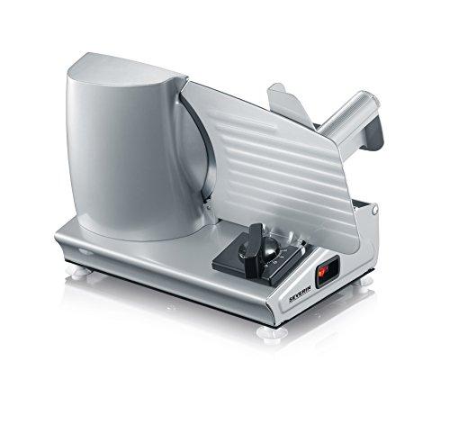SEVERIN Allesschneider für Brot, Aufschnitt oder Käse, Brotschneidemaschine mit stufenlos einstellbarer Schnittstärke, Aufschnittmaschine mit Fingerschutz, silber, AS 3915