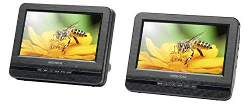 MEDION Tragbarer DVD Player mit Zwei 17,7cm 17,8cm Zeigt p72022, Xvid und MPEG4Kompatibel, 4in 1Kartenleser SD, SDHC, MMC, MS, USB-Anschluss Hintergrund Beleuchtet Schlüssel