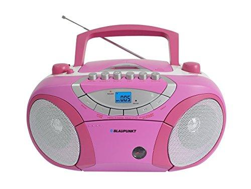 Blaupunkt BB15BL Boombox mit Radio/CD/MP3-Player/Kassettenplayer (mit LCD-Dislay, USB, X-Bass) rosa