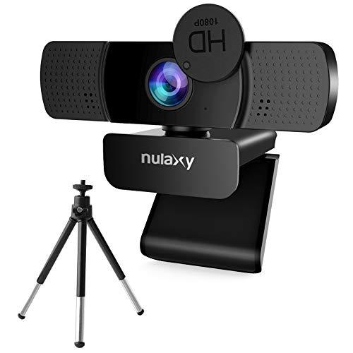 NULAXY Webcam mit Mikrofon, FHD 1080P Webcam mit Stativ, Streaming Webkamera mit Abdeckung, Plug & Play, Laptop PC Kamera für Computer, Skype, Video Chat und Aufnahme, Schwarz