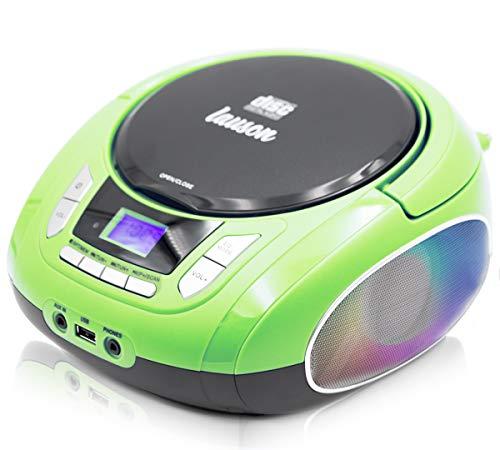 Lauson NXT964 Tragbarer CD-Player mit LED-Discolichter | CD-Radio Boombox | CD Player für Kinder | kinderradio mit USB | LCD-Display | Netz & Batterie, Grün