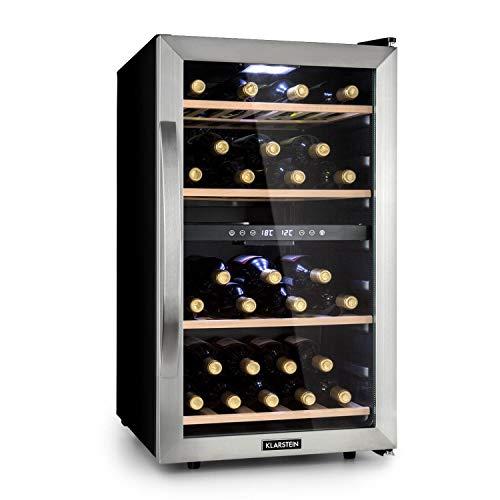 Klarstein Vinamour - Weinkühlschrank, Unterbau/Einbau, Touch Control, freistehend, 2 Kühlzonen, 45 Flaschen, schwarz