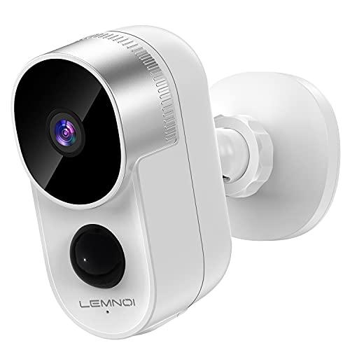 Lemnoi 1080P Akku Überwachungskamera WLAN IP Kamera, Batteriebetrieben Kabellos Aussen Wasserdicht Überwachungskamera mit PIR Bewegungsmelder, Nachtsicht, 2-Wege-Audio, Cloud-Speicher, CloudEdge APP