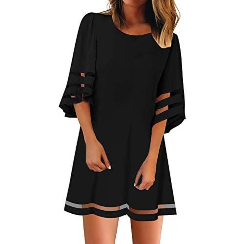 Ulanda-EU Damen Sommerkleid Strandkleid Chiffon-Kleid 3/4 Ärmel Casual Spitzenkleid Loose Top Shirtkleider Einfarbig Boho Freizeitkleid Party Cocktailkleid
