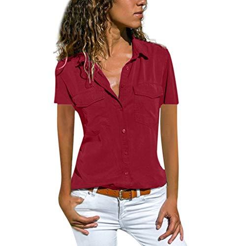 MRULIC Bluse Damen Kurzarm Hemdbluse Einfarbig Business Hemd Herbst und Sommer Revers Kragen S-5XL(Weinrot,EU-46/CN-4XL)