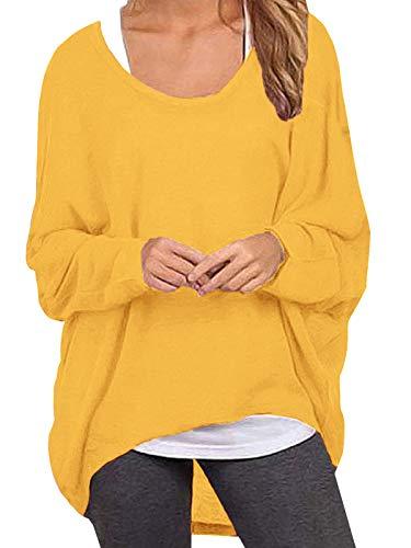 ZANZEA Damen Lose Asymmetrisch Jumper Sweatshirt Pullover Bluse Oberteile Oversize Tops Gelb Small