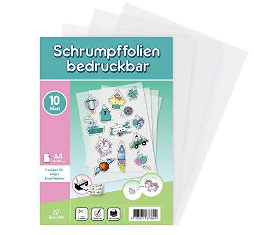 Sweelov 10 Blatt Schrumpffolien Bedruckbar A4 Schrumpfende Plastikfolie transparent Deko Folie für Handwerk