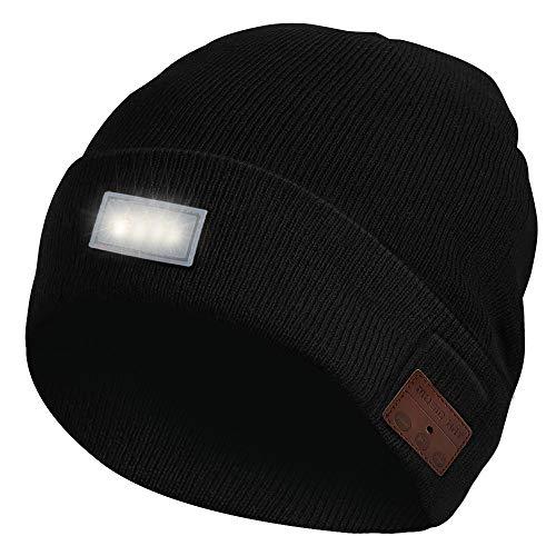 Achort Bluetooth Mütze, Beanie Hüte mit LED-Scheinwerfer Drahtlose Headset Musik Cap Winter Warme Strick Hut für Outdoor Sport ür Männer und Frauen - Schwarz