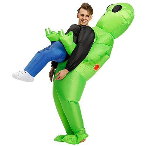 JASHKE Aufblasbares Kostüm Halloween Blow Up Kostüme Cosplay Party Kostüm Overall (Green Alien)