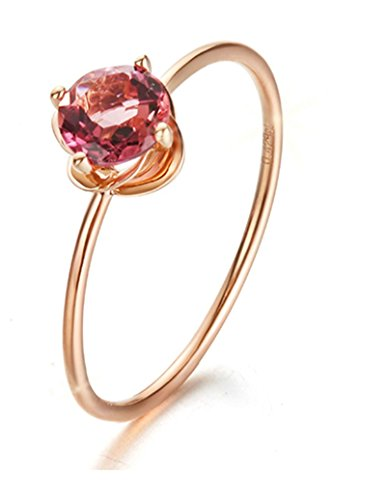 ANAZOZ Echtschmuck Damen Ring 18K 750 Rosegold Verlobungsring Damenring 0,85 Karat Turmalin Solitär-Ring für Frauen Größe 45 (14.3)