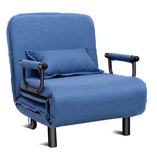 COSTWAY 3 in 1 Schlafsessel, Schlafsofa klappbar, Klappbett, Chaiselongue, Klappsessel, Sofabett, mit Verstellbarer Rückenlehne, inkl. Kissen, ideal für Schlafzimmer, Wohnzimmer, Büro (Blau)