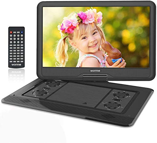 WONNIE 17.5' Tragbarer DVD-Player mit 15.6 Zoll Rotation Bildschirm 1366x768 HD, 5600mAh Akku 6 Stunden, Stereoton, Regionen Frei, USB / SD / AV OUT & IN (Schwarz)