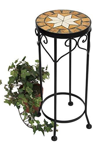 DanDiBo Blumenhocker Mosaik Rund 46 cm Blumenständer 12011 Beistelltisch Pflanzenständer Mosaiktisch