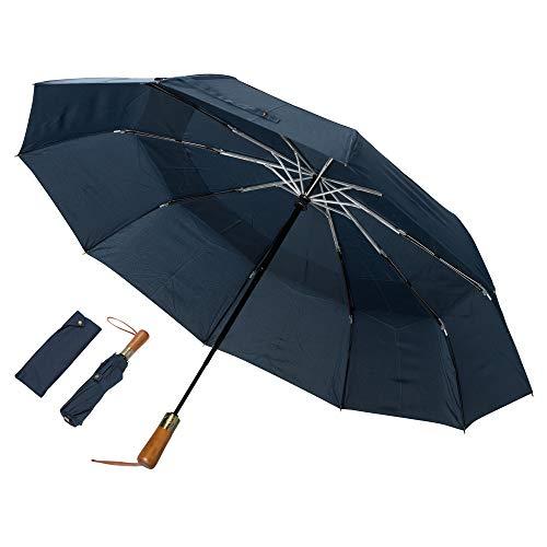 ADRIANO PORCARO® - Regenschirm - Taschenschirm - Mini Regenschirm – klein, leicht & kompakt - inkl. Schirm-Tasche & (Dunkelblau)