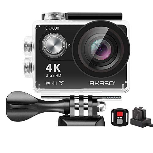 Action Cam 4K AKASO WiFi Action Kamera 30M Unterwasserkamera 170°Ultra Weitwinkel Full HD Sports Kamera mit 16MP 2 Zoll LCD Bildschirm 2.4G Fernbedienung 2x1050mAh Akkus und Zubehör Kit.