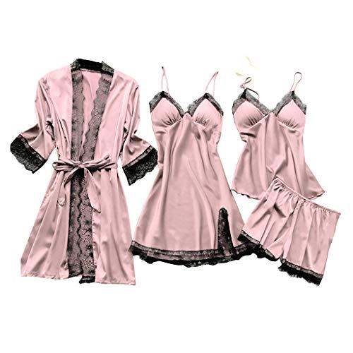 Deloito 4 Stück Dessous Set Damen Kunstseide Spitze Negligee Robe Nachtkleid Babydoll Nachtwäsche Nachthemd Pyjamas Schlafanzug Reizwäsche Vierteiliger Anzug (Pink,Medium)