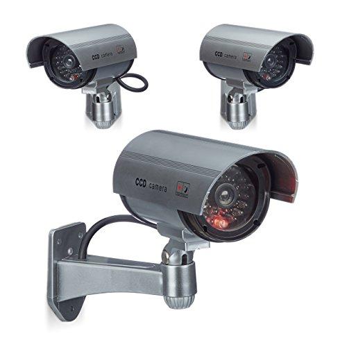 3 x Dummy Kamera im Sicherheits Set, CCD Kamera mit LED, schwenkbare Sicherheitskamera, für außen und innen, drahtlos