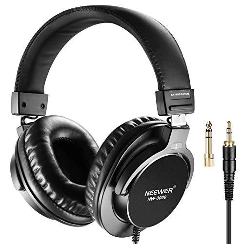 Neewer Studio Monitor Kopfhörer - Dynamische Drehbare Kopfhörersets mit 45mm Loudhailer-Treiber, 3 Meter Kabel, 6,5mm Stecker Adapter für PC, Handy und TV (NW-3000)